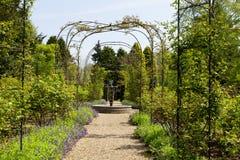 Arco rosa del giardino con la fontana ornamentale Fotografia Stock