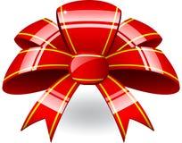 Arco rosso del nastro Immagine Stock