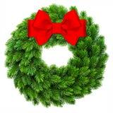 Arco rosso del nastro di spirito sempreverde della corona della decorazione di Natale Immagine Stock