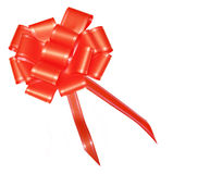 Arco rosso del raso per i regali wraping Fotografie Stock Libere da Diritti