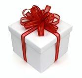 Arco rosso del regalo bianco Immagine Stock