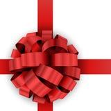 Arco rosso del regalo di Natale Immagine Stock