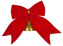 Arco rosso del velluto con la campana Fotografie Stock