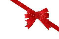 Arco rosso diagonale del regalo Fotografia Stock