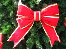 Arco rosso sull'albero di Natale Immagini Stock