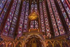 Arco Sainte Chapelle Paris France dell'altare della cattedrale del vetro macchiato Fotografie Stock