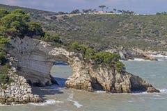 Arco San Felice. Well-known landmark of the Gargano coast in Apulia Royalty Free Stock Image