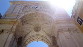 Arco Triunfal da Rua Augusta, Plaza del Comercio, Lissabon Arkivbild