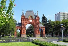Arco triunfal de Alexander no tempo ensolarado do verão na cidade Fotografia de Stock
