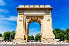 Arco triunfal de Arcul de Triumf em Bucareste Foto de Stock