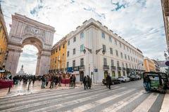 Arco triunfal de Rua Augusta no centro histórico da cidade de Lisboa em Portugal imagens de stock