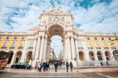 Arco triunfal de Rua Augusta no centro histórico da cidade de Lisboa em Portugal foto de stock