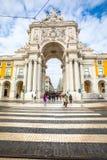 Arco triunfal de Rua Augusta no centro histórico da cidade de Lisboa em Portugal foto de stock royalty free