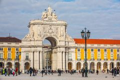 Arco triunfal de Rua Augusta no centro histórico da cidade de Lisboa em Portugal imagens de stock royalty free