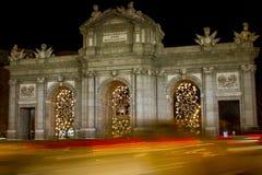 Arco triunfal, noche Fotografía de archivo