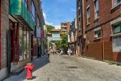 Arco in via di Chinatown De La Gauchetiere Fotografia Stock Libera da Diritti