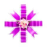 Arco viola del regalo Immagini Stock