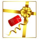 Arco y cinta del oro con vector de la etiqueta Imágenes de archivo libres de regalías