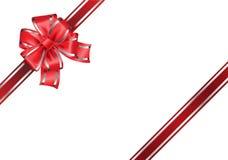 Arco y cinta rojos en el vector blanco Imágenes de archivo libres de regalías
