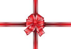 Arco y cinta rojos en el vector blanco Imagen de archivo libre de regalías