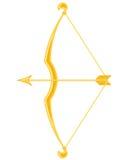Arco y flecha del oro Stock de ilustración