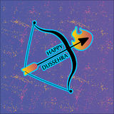 Arco y flecha en llamas Postal para el día de fiesta en la India Dussehra feliz Imagenes de archivo