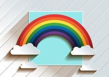 Arcobaleno con il fondo delle nuvole illustrazione di stock