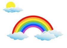Arcobaleno con il Sun e le nuvole royalty illustrazione gratis