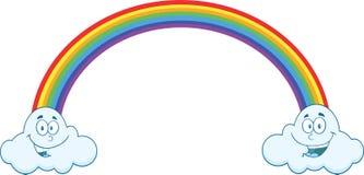 Arcobaleno con le nuvole sorridenti sull'estremità Immagini Stock Libere da Diritti