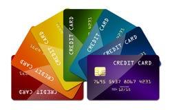 Arcobaleno della carta di credito isolato Fotografie Stock