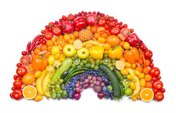 Arcobaleno della verdura e della frutta Fotografia Stock Libera da Diritti