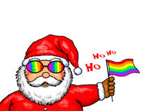 Arcobaleno di Santa Claus Merry Christmas Gay Pride illustrazione vettoriale