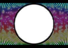 Arcobaleno di spettro, fondo iridescente dei cerchi Insegna astratta rotonda su fondo nero Modello per il testo della pasta Fotografia Stock