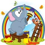 Arcobaleno di tiraggio del topo e dell'elefante Immagine Stock Libera da Diritti