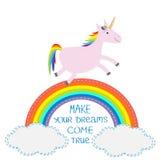 Arcobaleno e nuvola nel cielo Unicorno sveglio Faccia i vostri sogni avverarsi Immagini Stock Libere da Diritti