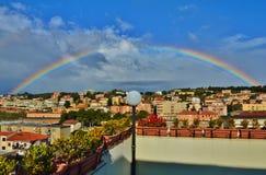 Arcobaleno in lido di Catanzaro immagine stock