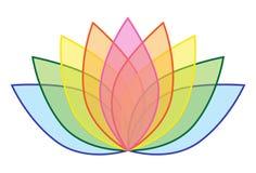 Arcobaleno Lotus Flower Icon Logo sull'illustrazione bianca 1 del fondo Immagini Stock