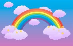 Arcobaleno nel cielo fra le nuvole Fotografia Stock Libera da Diritti