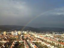 Arcobaleno nella città di Bratislava Fotografie Stock Libere da Diritti