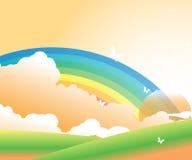 Arcobaleno, nuvole e le farfalle Fotografie Stock