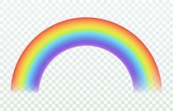 Arcobaleno realistico Effetto iridescente della pioggia e del sole di luci di estate dell'arco di colore del cielo allegro della  royalty illustrazione gratis