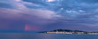 Arcobaleno rosso, St Tropez, Francia fotografia stock
