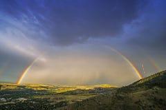 Arcobaleno sopra Denver Immagine Stock