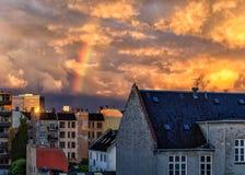 Arcobaleno sopra Frederiksberg, Copenhaghen, Danimarca immagini stock libere da diritti