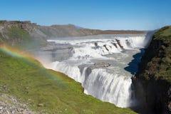 Arcobaleno sopra la cascata di Gullfoss (cadute dorate), Islanda Fotografia Stock