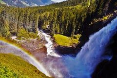 Arcobaleno sopra le cascate di Krimml Fotografia Stock
