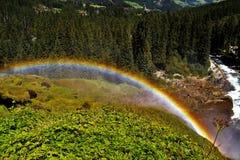 Arcobaleno sopra le cascate di Krimml Fotografie Stock Libere da Diritti