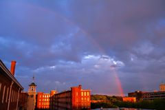 Arcobaleno sopra Lowell Fotografia Stock