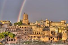 Arcobaleno sopra Roma Immagine Stock