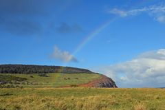 Arcobaleno sull'isola di pasqua Fotografia Stock Libera da Diritti
